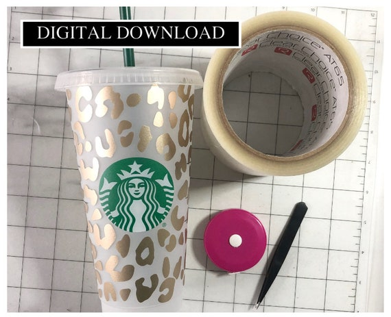 Full Sheet Animal Print Starbucks Coffee Svg File Leopard Etsy