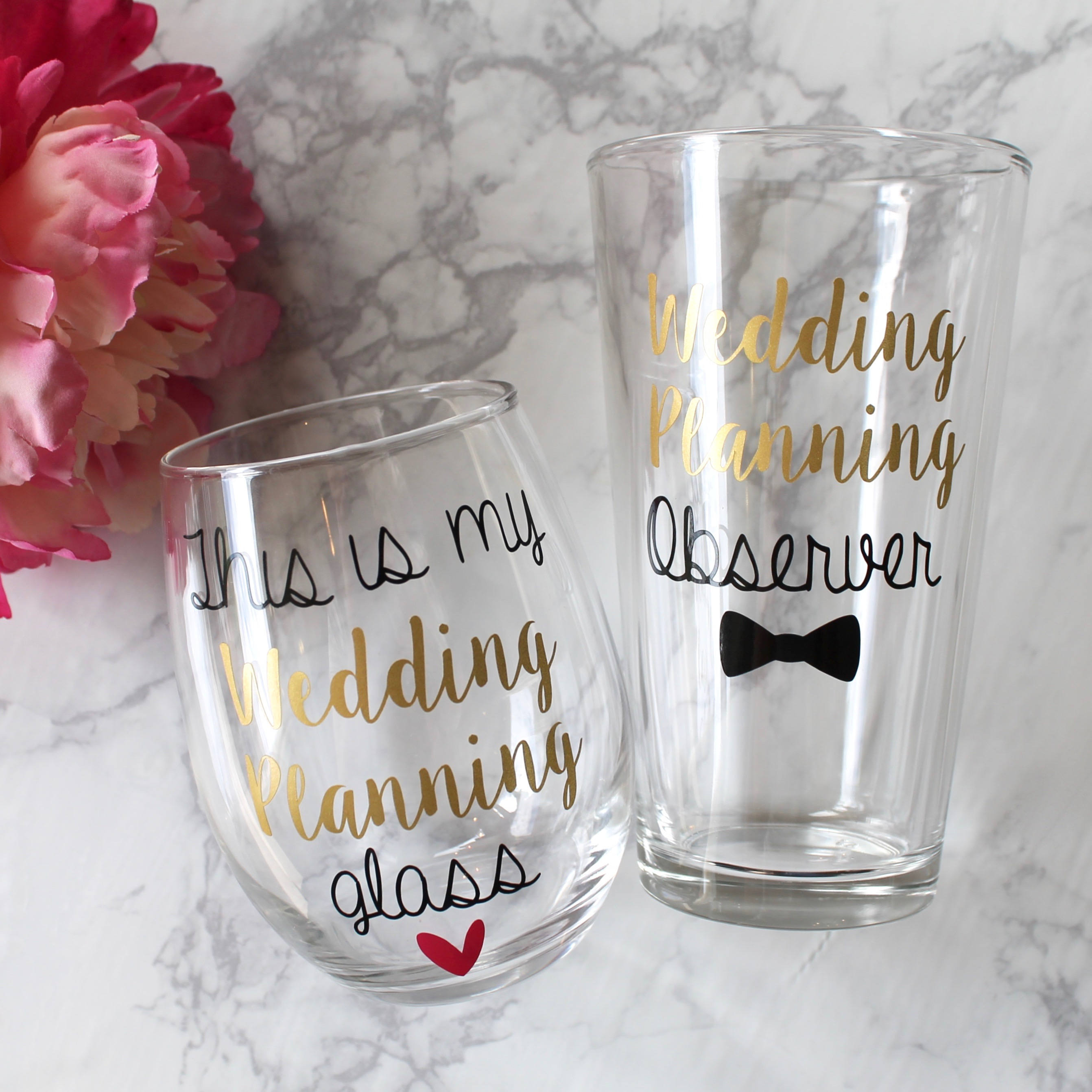 Engagement Wine Glass and Pint Glass This Is My Wedding