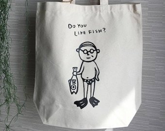Glasses Uncle Fish Tote Bag
