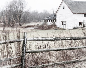 Barn in Snow Flurry. Rustic Farm Photography, Barn and Pasture photo, Barn and Fence Wall Art, Pasture and Fence Decor, Rustic Farm Decor