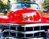 Pink Red Cadillac Grille Print, Flying Goddess Chrome Hood Ornament, Automotive Emblem Fine Art, 1950 Classic Car Lover Gift for Men him Her