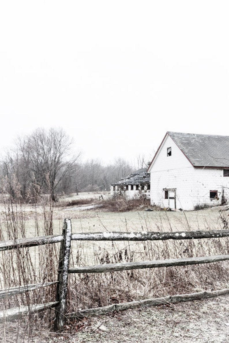 Rustic Farmhouse In Snow Flurry Farm House Decor Rustic Country Barn And Pasture Photography Farm Fencing Wall Art Decor Farm Lover Gift