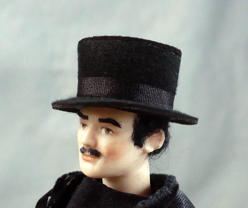 1//12 Dollhouse Miniatures Gentleman Bowler Hat Accessory Decoration Black