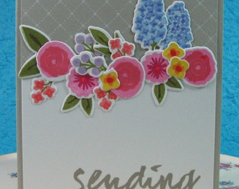 SEND HUGS, Thinking of You, Sympathy, BFF, Friendship, Classic, Flowers, Colorful (#12)