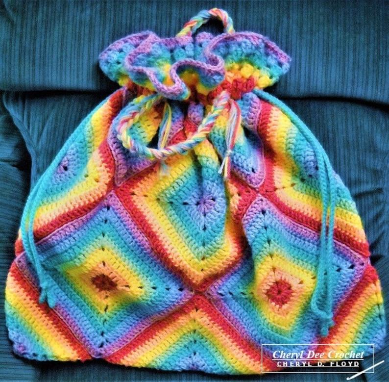 CROCHET PATTERN: Rainbow Granny Tote...Free Photo Tutorial image 0