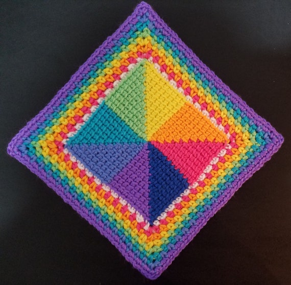 Crochet Pattern Tunisian Pinwheel Square Afghan Block Hot Pad Etsy