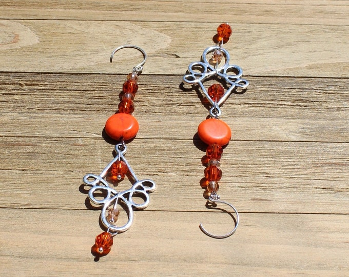 Long shoulder duster orange magnesite coin and czech glass with silver chandelier on silver 925 sterling silver french hooks