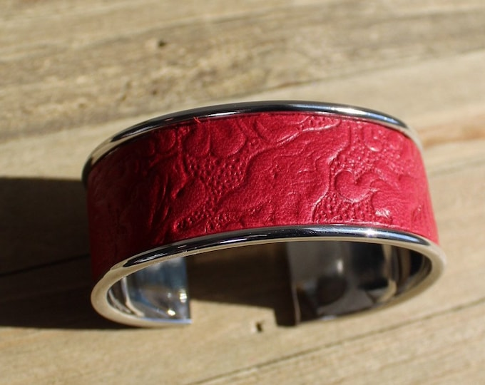 Red embossed leather inlaid silver cuff bracelet