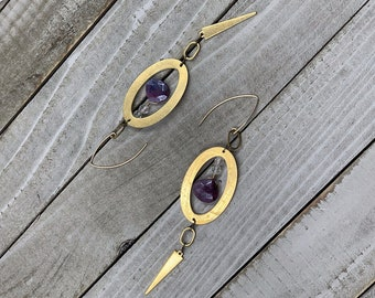 Topaz with genuine ruby silver coated faceted briolettes in brass oval geometric shapes on 14k gold filled french hook earwires