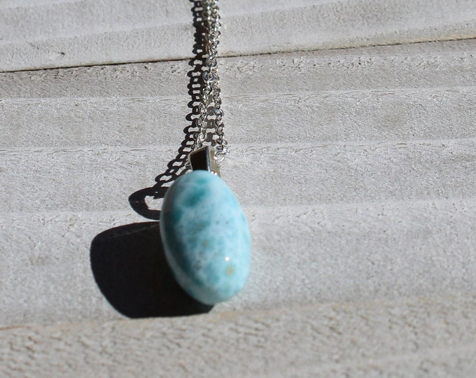 Genuine light blue larimar stone pendant, with silver bale on a silver delicate chain necklace