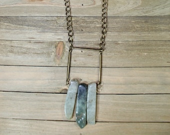Geometric brass and dark / light green prehnite stick beads with brass findings on long antique brass chain