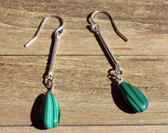 Malachite briolettes suspended from shiny silver bars on 925 sterling silver ear wires