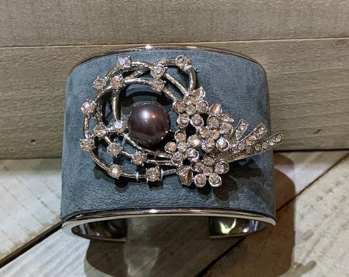 Silver, grey leather & rhinestone swirl with grey pearl embellishment inlaid cuff bracelet