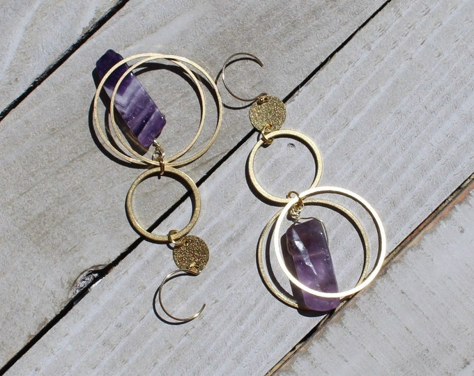 Long shoulder duster amethyst dog tooth stones suspended inside brass circles on 14k gold filled ear wires