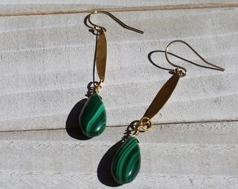 Delicate malachite briolettes suspended from brass bars on 14k gold filled ear wires