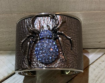 Silver, gunmetal metallic leather & rhinestone gunmetal spider embellishment inlaid cuff bracelet