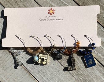 Set of 6 Wine Glass Charms Mixed Metal Global Travel Themed