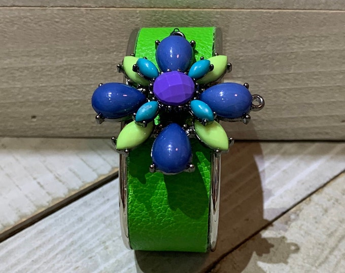 Silver, bright green and silver leather with flower rhinestone embellishment inlaid cuff bracelet