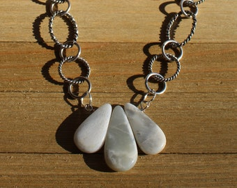 Briolette pear multi-moonstone in shades of grey and white on a geometric chunky antique silver chain