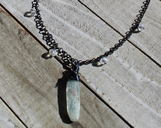 Polished light blue kyanite gunmetal wire wrapped blade pendant on gunmetal chain with czech glass beads