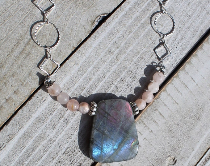 Colorful labradorite trapezoid pendant with silver spacer beads and rose quartz round stones on geometric silver chain