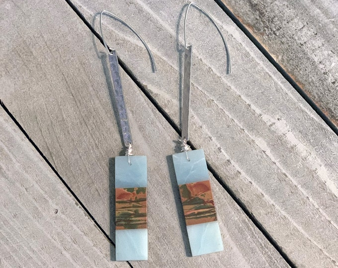 Aventurine and red creek jasper rectangle stone suspended from silver textured bars, hanging from 925 sterling silver earwires