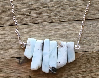 Genuine light blue larimar graduated bar necklace on silver delicate chain