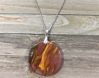 CLEARANCE! Cherry quartz stone pendant round clear pink orange brown beautiful crystal shiny simple large chunky stone shiny silver chain