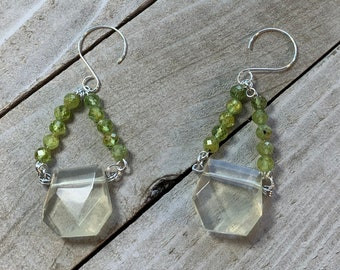 Chunky faceted lemon quartz suspended from semi-precious peridot bead triangles on 925 sterling silver ear wires