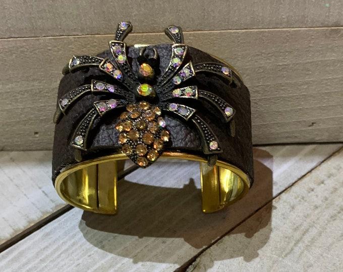 Brass, brown leather & rhinestone brass spider embellishment inlaid cuff bracelet