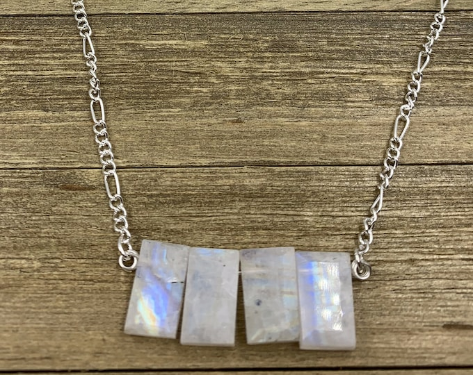 Genuine moonstone silver bar necklace with moonstone accents on silver chain