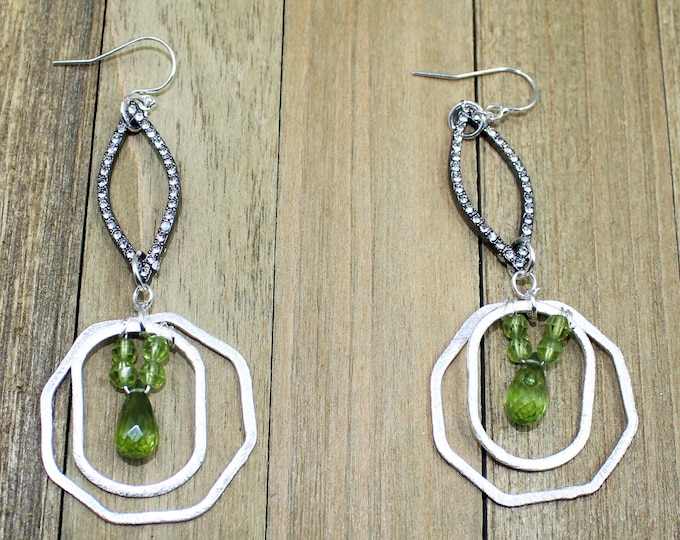 Peridot faceted briolettes and rondells inside silver octagon and marquise rhinestone gunmetal shapes on 925 sterling silver earwires