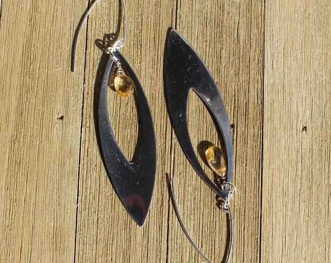Citrine faceted briolettes and stainless steel marquis geometric shapes on 925 sterling silver french hook earwires