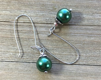 CLEARANCE! Green glass pearl earring metal caps bold chunky beautiful dangly chandelier earrings on kidney shaped silver earring wires