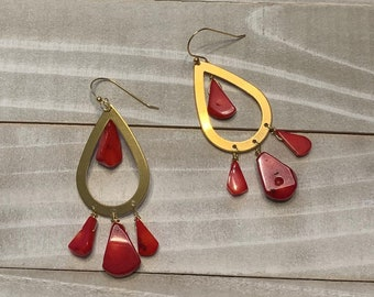 Red coral teardrops inside and suspended from a large brass teardrop, fastened to 14k gold filled earwires