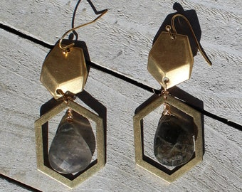 Rutilated black quartz briolette suspended from brass hexagons on 14k gold filled ear wires
