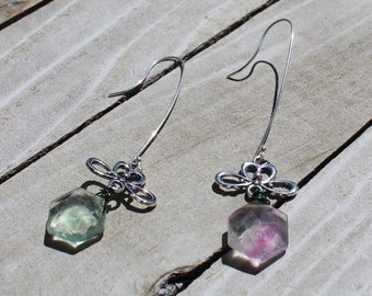 Octagon purple and green fluorite suspended from silver floral findings, attached to silver 925 sterling silver french hooks