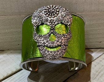 Silver, shiny metallic green apple leather with floral skull embellishment inlaid cuff bracelet