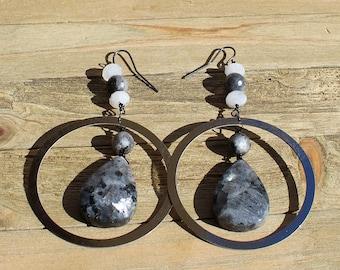 Larvikite (dark labradorite), moonstone and silver circle shoulder duster earrings on gunmetal ear wires
