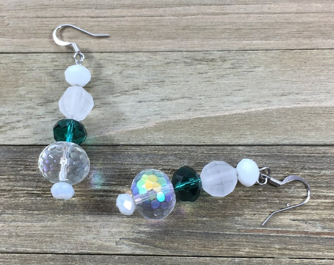 CLEARANCE! Aurora borealis iridescent clear, frosted, white & dark green glass bead earrings on silver dangle drop french hook