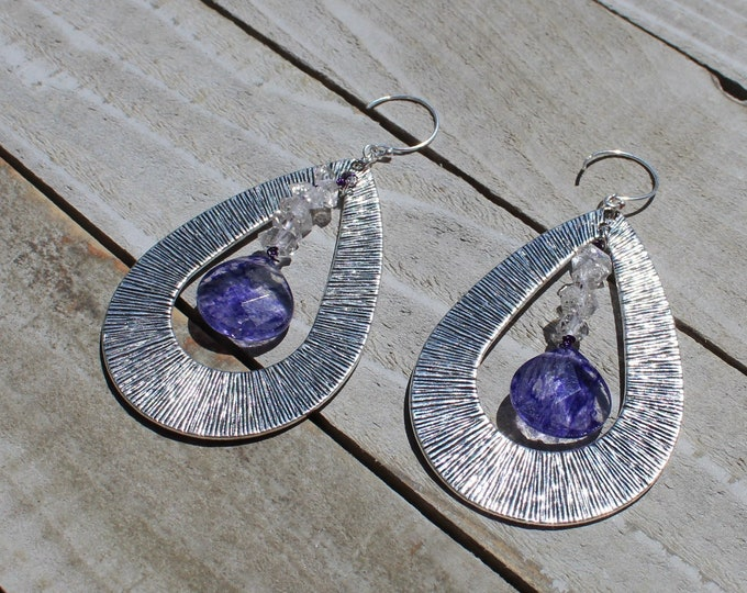Textured silver teardrop with herkimer diamond inside & dyed purple quartz, hanging from 925 sterling silver earwires