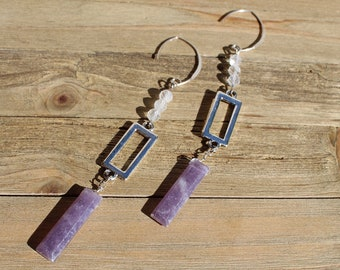 Long shoulder duster silver rectangle shapes with sugilite and white topaz stones on 925 sterling silver earwires