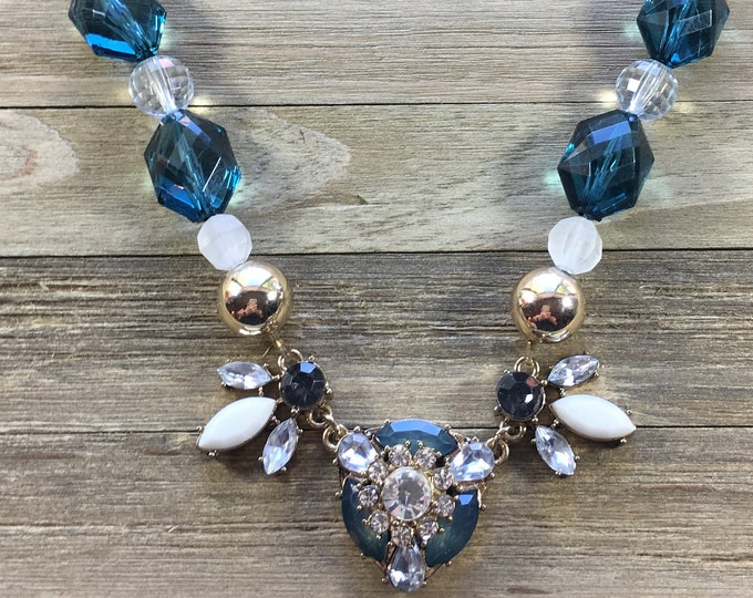 CLEARANCE! Gold, blue and white rhinestone and bead statement necklace on clear cording with tiny gold lobster clasp