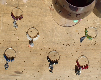 Classical Musical Instruments Themed Charms Silver - Set of 6 Wine Glass Charms