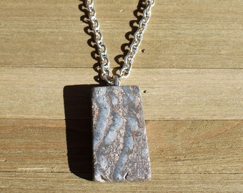 Natural blue, grey and brown jasper rectangle slab pendant with silver bale on a heavy silver toned chain