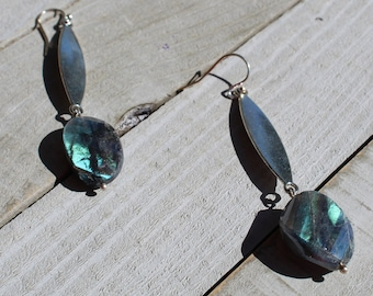 Labradorite faceted stones suspended from silver oval bars on silver 925 sterling silver french hooks