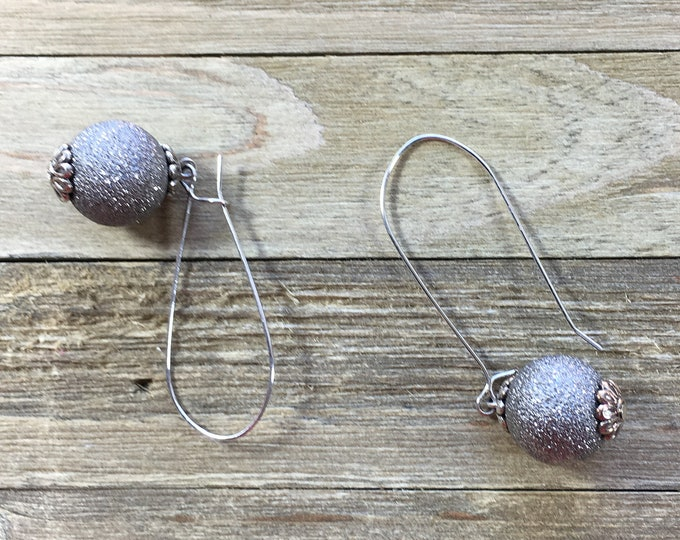 CLEARANCE! Silver earring sparkly metal balls with caps beautiful dangly chandelier drop earrings on silver kidney shaped wire earrings