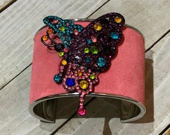 Silver, pink leather & rhinestone gunmetal butterfly embellishment inlaid cuff bracelet