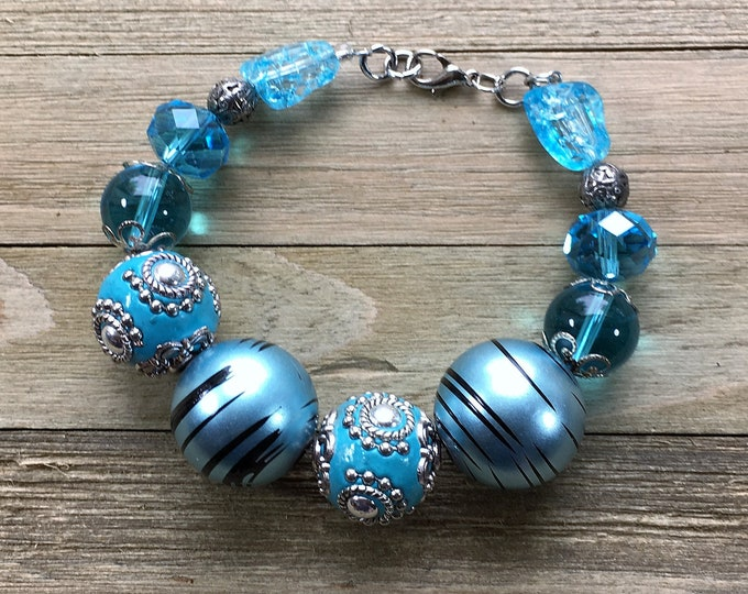 CLEARANCE - Silver, light blue and turquoise hard candy beaded statement bracelet with silver lobster clasp closure