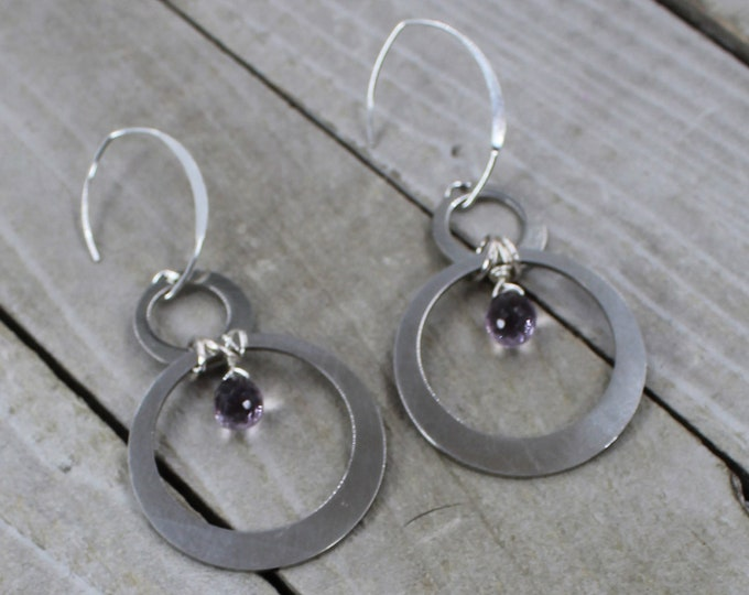 Genuine rose de France amethyst stones with silver circles hanging from 925 sterling silver earwires